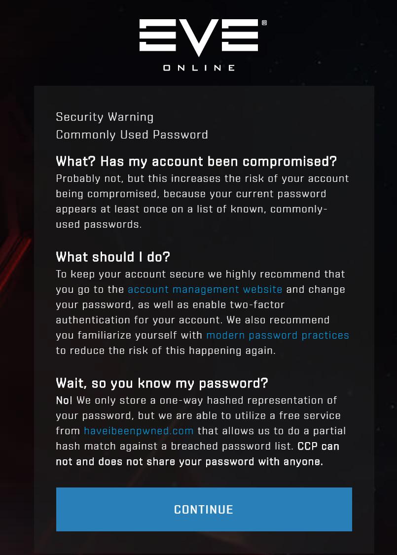 Account Security Improvements | EVE Online